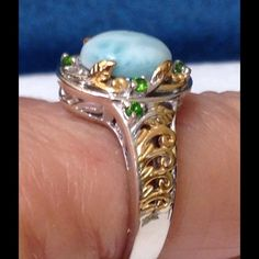 Larimar Climbing Vine Ring Gorgeous Larimar 3.00 Ct, accented with Russian Diopside. Larimar is said to be 20.000 rarer than diamonds. This is called the Climbing Vine Ring. Ring is in 14K YG and Platinum Overlay .925 Sterling Silver Nickel Free (Size 8) TGW 3.20 Cts. This ring marries two of the rarest gemstones together in one stunning ring. Jewelry Rings