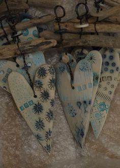 patterned clay hearts