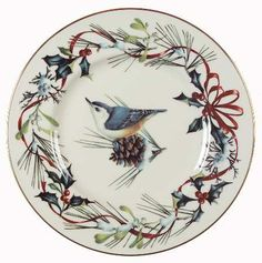 Lenox Winter Greetings Nuthatch Accent Luncheon Plate