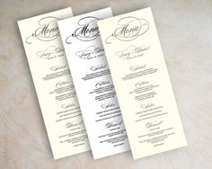 Wedding menu card printable wedding menu diy by appleberryink, $25.00