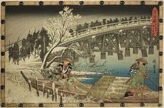 Utagawa Hiroshige  Japanese, 1797–1858, The Approach to the Night Attack, from the series The Forty-seven Samurai (Chushingura)