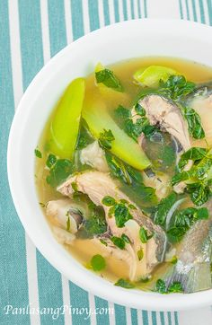 Tinolang Bangus is a delicious Filipino soup recipe; it is a hearty ginger soup composed of bangus (milkfish) and vegetables such as chayote, hot pepper leaves, and malunggay leaves. This is best eaten with white rice along with a spicy fish sauce dip.