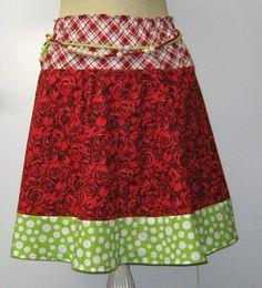 New to PurpleSageDesignz on Etsy: Sale Roses Plaids Dots Skirt Patchwork Skirt Hippie Bohemian Knee length cotton 12 M/L (19.00 USD)