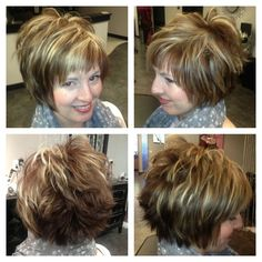 Hair Beauty - Short hair cut with chunky highlights Love this style but would wear it not as messy in the back but love love the front and sides. Short Hair With Layers, Short Hair Cuts, Short Hair Styles, Pixie Styles, Short Bob Hairstyles, Hairstyles Haircuts, Hairdos, Party Hairstyles, Wedding Hairstyles