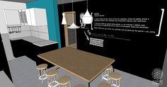 A cozinha recebeu uma mesa grande em compensado OSB e diversos banquinhos em madeira clara. O azul alegre contrasta com o paredão preto que pode ser usado como quadro de giz.