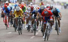 Race: Norway's Alexander Kristoff (front) sprints ahead to place third and claim the bronze medal