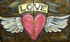 Winged Heart  Two parts, one heart. This painting is a funky and fun way to celebrate romantic love. Grab a bottle of wine and your sweetheart, and put your paintbrushes and hearts together for this Couples' Date Night painting!
