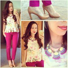 Floral peplum H, fuschia ankle pants Target, Vince Camuto pumps, jcrew inspired fan fringe statement necklace