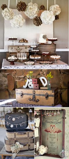 Maybe we could do this with the suitcases that are provided by the venue? Decoration Buffet, Party Decoration, Wedding Decorations, Bridal Shower, Baby Shower, Festa Party, Candy Table, Vintage Party, Wedding Desserts