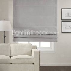[USD $ 19.99] Chic Light Grey Blackout Roman Shade