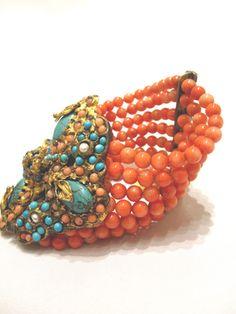 Vintage coral cuff