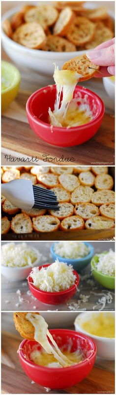 Warm, melted cheese and crisp, savory bread... simple Havarti Fondue with Rosemary Crostini recipe I