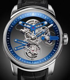 """Angelus U20 Ultra-Skeleton Tourbillon Watch - by David Bredan - see all about this fresh release on aBlogtoWatch """"The Angelus U20 Ultra-Skeleton Tourbillon wants you to forget about microscopic texts discreetly saying 'tourbillon' on solid watch dials. With an 'ultra-skeletonized' movement, the Angelus U20 puts everything on show, practicing levels of transparency scarcely experienced in the Swiss watch industry. A flying tourbillon, bridges in blue, and everything else..."""""""
