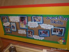 Display looking at the skills children master when they are enjoying sand play. School Displays, Classroom Displays, Class Displays, Play Based Learning, Early Learning, Learning Stories, Visual Learning, Early Years Displays, Eyfs Classroom