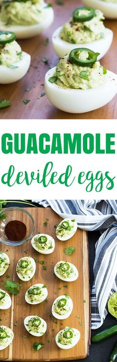 Guacamole Deviled Eggs - Deviled eggs stuffed with a creamy guacamole filling. Cold Appetizers, Appetizers For Party, Appetizer Recipes, Italian Appetizers, Egg Recipes, Cooking Recipes, Guacamole Deviled Eggs, Appetisers, Clean Eating Snacks