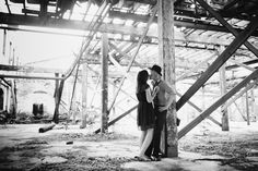 Goat Farm Engagement Photo Idea - Black & White