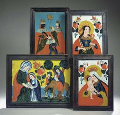 Four various reverse glass paintings , CENTURY Art Forms, Folk, Paintings, Frame, Glass, Pictures, Picture Frame, Popular, Paint