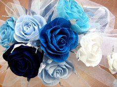 Royal Blue Navy Crepe Paper Roses wedding table decor car bridal flowers beach aqua Blue CENTERPIECE boy baby shower birthday Party dekor