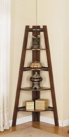 Wood Corner Shelf Rack - Cherry Brown Finish
