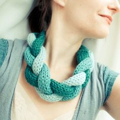 knitted braid necklace Etsy