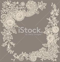 Сream-colored lace Corner Royalty Free Stock Vector Art Illustration