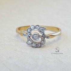 Antique Vintage Edwardian Cluster Diamond Engagement Ring in 18K Gold by CypressCreekVintage on Etsy https://www.etsy.com/listing/256065525/antique-vintage-edwardian-cluster