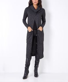 0ca51200ef025 Take a look at this Anthracite Cowl Neck Split-Front Duster today!