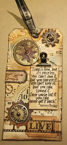 Very steampunk gift tag. Nice to make the tag part of the gift. klistersøster: Tim Holtz 12 Tags of 2013 januar ❤