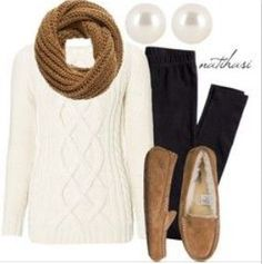 Cable knit sweater (mines red) scarf (mines leopard print) and moccasins uggcheapshop.com    $89.99  pick it up! ugg cheap outlet and all just for lowest price # boots for this winter