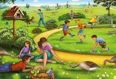 Praatplaat spelen in het park