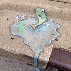 David Zinn, 2014. Sluggo has learned to always judge the depth of a puddle by its occupants.