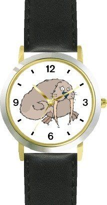 Walrus Cartoon Animal - WATCHBUDDY® DELUXE TWO-TONE THEME WATCH - Arabic Numbers - Black Leather Strap-Size-Children's Size-Small ( Boy's Size & Girl's Size ) WatchBuddy. $49.95