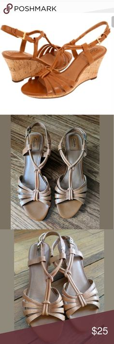 "Clarks Bendables Fiddle Scroll Leather Sandals Clarks Fiddle Scroll Sandals  Strappy sandal with work wedge  Size 9  3"" heels  Very good condition  • Smoke free home Clarks Shoes Wedges"