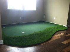 Golf Rooms: The Ultimate Golf Man Cave small corner golf room green Golf Man Cave, Golf Room, Golf Simulators, Golf Theme, Small Room Design, Small Corner, Mens Golf, Room Themes, My New Room