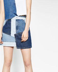Image 3 of DENIM PATCHWORK SKIRT from Zara