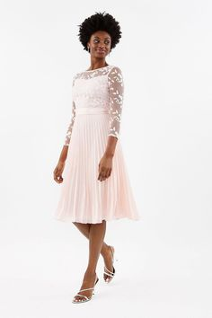Embroidered Long Sleeve Midi Dress | Coast Blush Bridesmaid Dresses, Beautiful Bridesmaid Dresses, Bridal Dresses, Bridesmaids, Pink Midi Dress, Long Sleeve Midi Dress, White Dress, Midi Dresses, Pleated Skirt