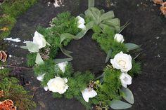 Headpiece with Ming Fern, White Spray Roses, White Freesia