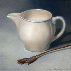 Oil painting of a cream dish against blue and grey background by Ester Wilson - http://www.esterwilson.com