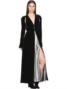 ATTICO - LONG VELVET BUTTON DRESS - BLACK