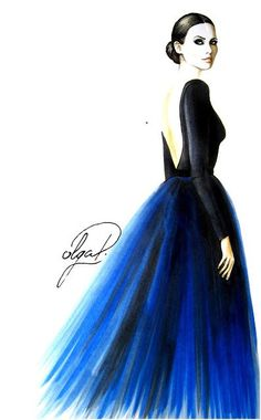 Lady in blue evening dress fashion illustration copic markers Olga Dvoryanskaya