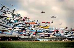 Super cool shot of different planes taking off from the same airport on different days!