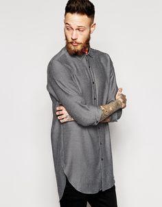 ASOS Shirt In Super Longline In Marl