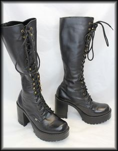 Lace up black boots