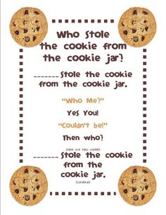 Gilchrist's Class: Who stole the cookie from the cookie jar? Gilchrist's Class: Who stole the cookie from the cookie jar? Freebie and a Peek at my Classroom :) – Kindergarten Lesson Plans Kindergarten Songs, Preschool Music, Preschool Movement Songs, Preschool Names, Homeschool Kindergarten, Preschool Learning, Learning Centers, Homeschooling, Songs For Toddlers