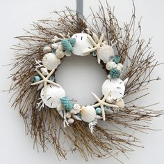 Pinecone and shell wreath teal
