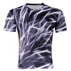 남성 패션 3D 티셔츠 폴리 에스테르 창조적 번개/연기 사자/도마뱀/물방울 3d 인쇄 짧은 소매 T 셔츠