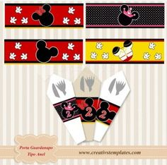 Kit de porta guardanapo Mickey e pronto para personalizar e imprimir