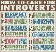 """How to Care For The Introverts in Your Life .a really great infographic for dealing with the different personality types in your life. """"Are You An Introvert Or An Extrovert? What It Means For Your Career"""" -Wash. Info Board, Just In Case, Just For You, Extroverted Introvert, Infj Infp, Def Not, The Words, Good Advice, Personal Development"""