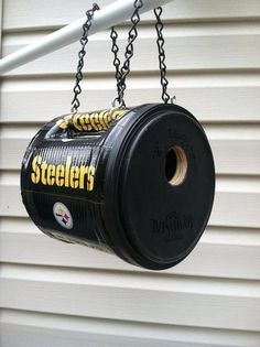 PITTSBURGH STEELERS~Steelers recycled birdhouse by BirdShopCafe on Etsy  made with a folgers coffee can and duct tape!