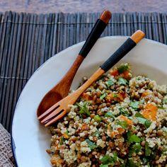 Pumpkin, lentil and cous cous salad with dukkah